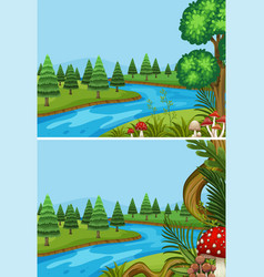 Two scenes with pine trees along the river vector