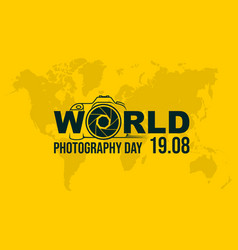 typography logo world photography day vector image