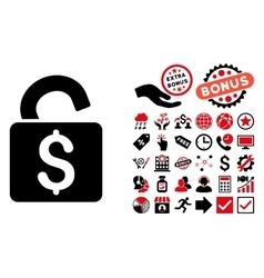 Unlock Banking Lock Flat Icon with Bonus vector