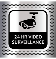 Video surveillance symbol on a metallic chromium vector