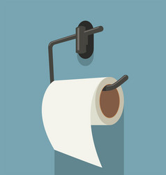 White toilet paper roll and metal holder vector