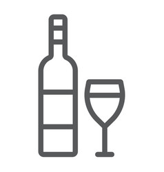 wine line icon alcohol and drink glass sign vector image