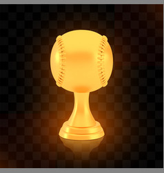 winner baseball cup award golden trophy logo vector image