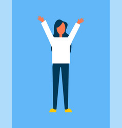 woman raising hands up blue vector image