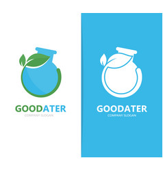 a flask and leaf logo combination vector image vector image