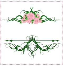 calligraphic design elements with roses vector image