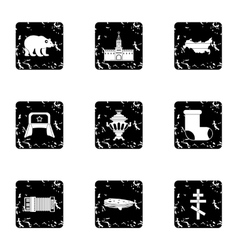 Country russia icons set grunge style vector