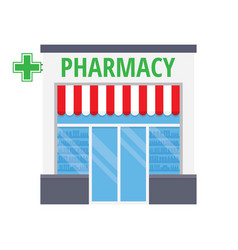 facade pharmacy store with a signboard vector image vector image
