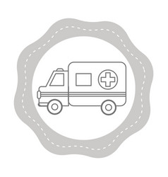 Figure sticker ambulance emergency care life vector