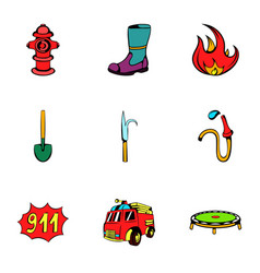 fire extinguisher icons set cartoon style vector image vector image