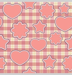 seamless pattern with pink applications on checker vector image