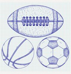 sports balls hand drawn sketch vector image vector image