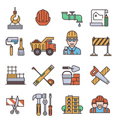 under construction outline icons engineering vector image