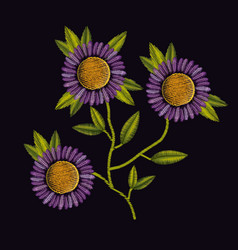 colorful purple daisy flowers plant set embroidery vector image