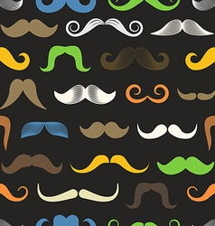 Different color retro style moustache seamless vector image vector image