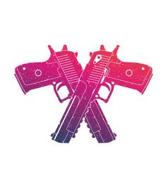 Crossed powerful pistols two handguns on white vector