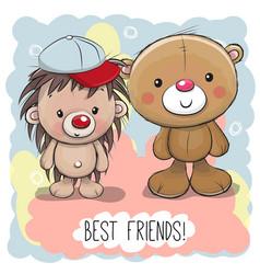 cute cartoon bear and hedgehog vector image vector image