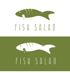 fish salad negative space design template vector image vector image