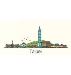 Flat line Taipei banner vector image vector image
