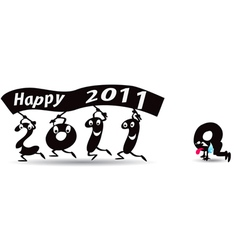 happy new Year 2011 greeting card vector image vector image