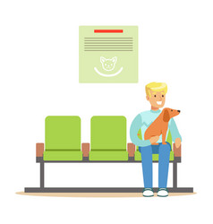 man sitting in waiting hall with his pet dog and vector image vector image