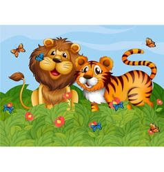 A lion tiger and butterflies in the garden vector image