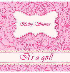 Baby-shower-with-flowers-girl vector image