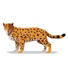 flat polygonal jaguar vector image