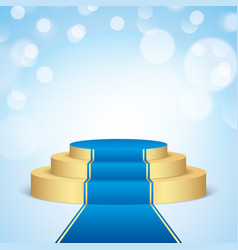 golden stage with blue carpet vector image vector image