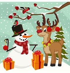 reindeer snowman Christmas vector image vector image