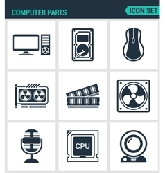 Set of modern icons Computer parts vector image vector image