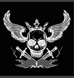 skulls wings tattoo hand drawing vector image vector image
