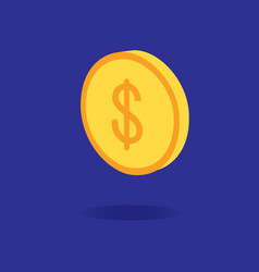 3d dollar coin design with dark blue background vector image