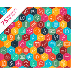 75 high quality line icons vector