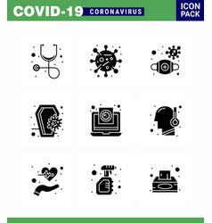 9 solid glyph black set corona virus epidemic vector