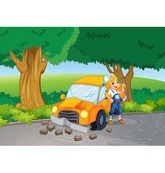 A car crash at the road near the big trees vector