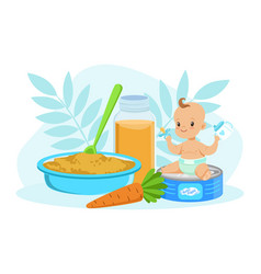 adorable smiling little boy with food toddler vector image