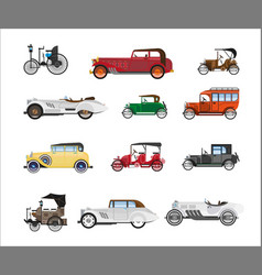 antique vehicle colorful flat poster on vector image