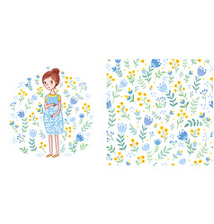 Baby seamless pattern with flowers vector