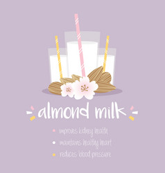 Benefits drinking almond milk vector
