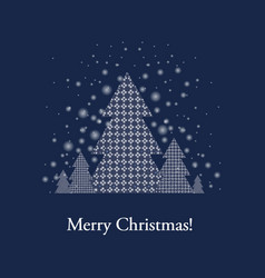 blue xmas postcard with firtree vector image