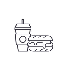 breakfast hamburger and coffee line icon concept vector image