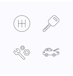 Car key repair tools and manual gearbox icons vector image