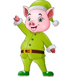 cartoon pig dressed in christmas elf costume vector image