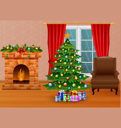 christmas living room with fireplace armchair tr vector image