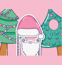 christmas pine trees decoration and santa claus vector image