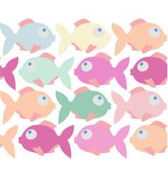 colorful fish cartoon seamless pattern vector image