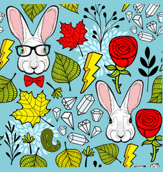Colorful of rabbits and red roses vector