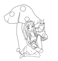 coloring book alice in front mushroom vector image