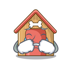 crying dog house isolated on mascot cartoon vector image
